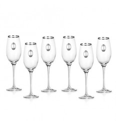 Invino 6 чаши за шампанско, сребърна плочка