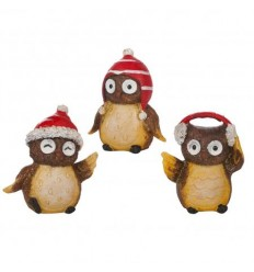 Коледни 3 бухалчета с шапки