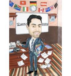 Пастелна карикатура с едно лице за Учител