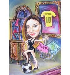 Пастелна карикатура с едно лице за Жена на футболист