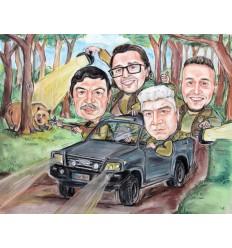 Пастелна карикатура с четири лица за ловец
