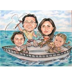 Пастелна карикатура с четири лица за семейство