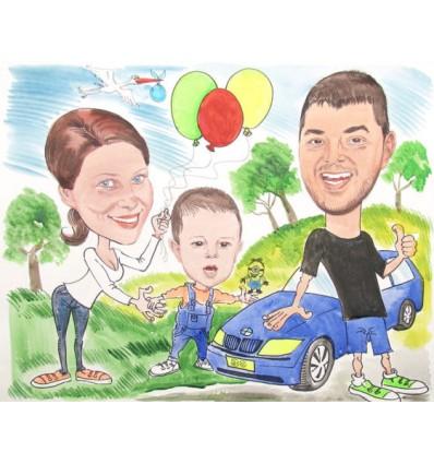 Акварелна карикатура с три лица