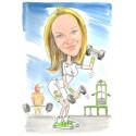 Акварелна карикатура едно лице фитнес дама
