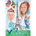 Акварелна карикатура две лица предложение за брак