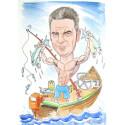 Акварелна карикатура едно лице рибар