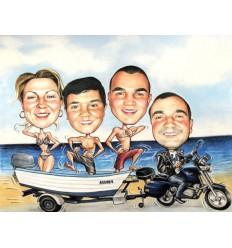 Пастелна карикатура четири лица