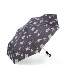 Дамски сив чадър с орхидея - Pierre Cardin