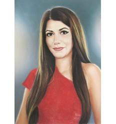 Портрет цветен пастел на едно лице