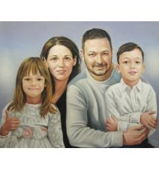 Портрет цветен пастел три лица