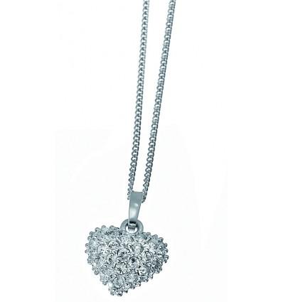 "Колие ""Full Heart"" - родий + кристал"