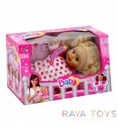 Кукла бебе с розов гащеризон
