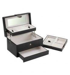 Дамска кутия за бижута от еко кожа 2 в 1, черна boutique autotray
