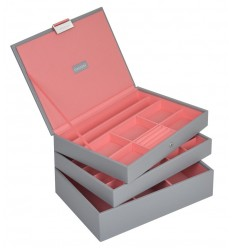 Дамска кутия за бижута от 3 части stackers, сиво и корал