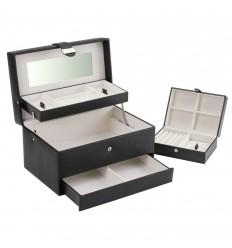 Голяма дамска кутия за бижута 2 в 1, черна boutique autotray