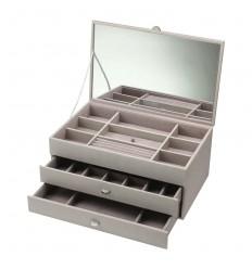 Голяма дамска кутия за бижута от еко кожа, цвят норка boutique