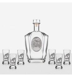 Сет 6 чаши+ бутилка елен