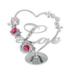 Сърце и цвете сребро