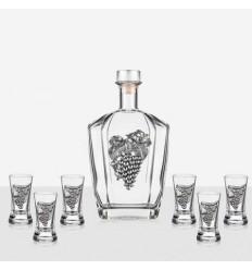 Сет 6 чаши+ бутилка грозд