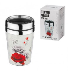 Термо чаша червена роза