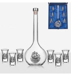 Сет 6 чаши+ бутилка кораб