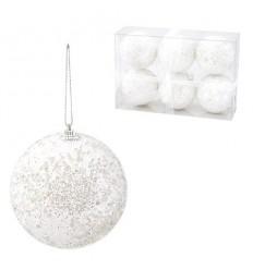 Коледна топка бяла 10 см.