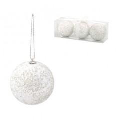Коледни топки бели 8 см.