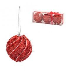 Коледна топка червена 8 см.