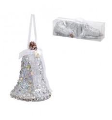 Коледна играчка камбанка сребърна