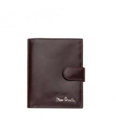 Мъжки черен портфейл -  тъмно кафяв, гладка кожа