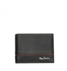 Мъжки черен портфейл -  с червена черта