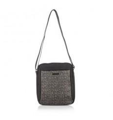 Мъжка чанта плат черно и тъмно кафяво
