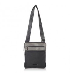 Мъжка чанта еко кожа и плат - черно и сиво