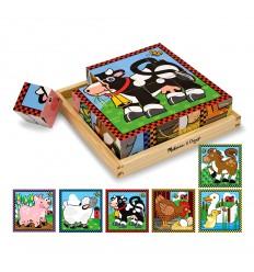 Дървени кубчета 6 картинки Фермата Melissa and Doug