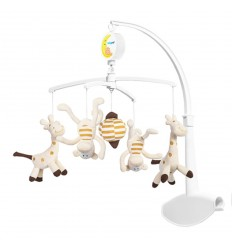 Въртележка за кошара жирафи и маймунки Babyono