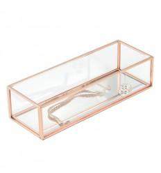 Стъклена кутия за бижута бяло розово злато