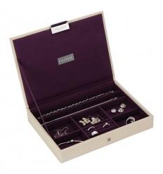 Кутия за бижута с капак крем лилаво