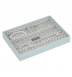 кутия за бижута 4 секции св.синьо сиво