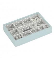 мини кутия за бижута 11 секции св.синьо сиво
