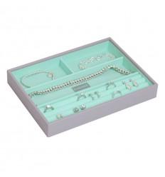 кутия за бижута 4 секции сиво мента