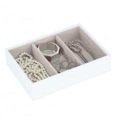 дълбока кутия за бижута 3 секции бяло сиво
